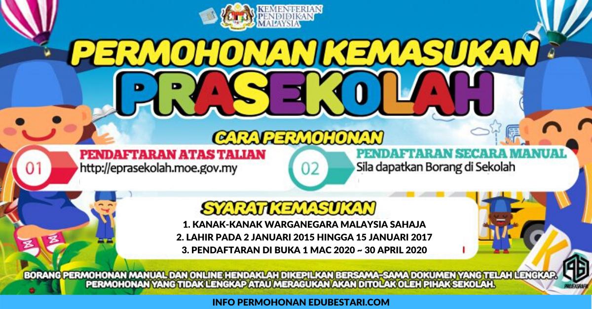 Permohonan Pendaftaran Prasekolah 2021 Kpm Bagi Anak Yang Lahir Pada 2 Januari 2015 Hingga 15 Januari 2017 Edu Bestari