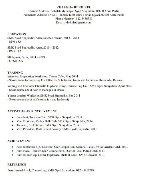 Contoh Resume Untuk Lepasan Spm Download Format Resume Lengkap