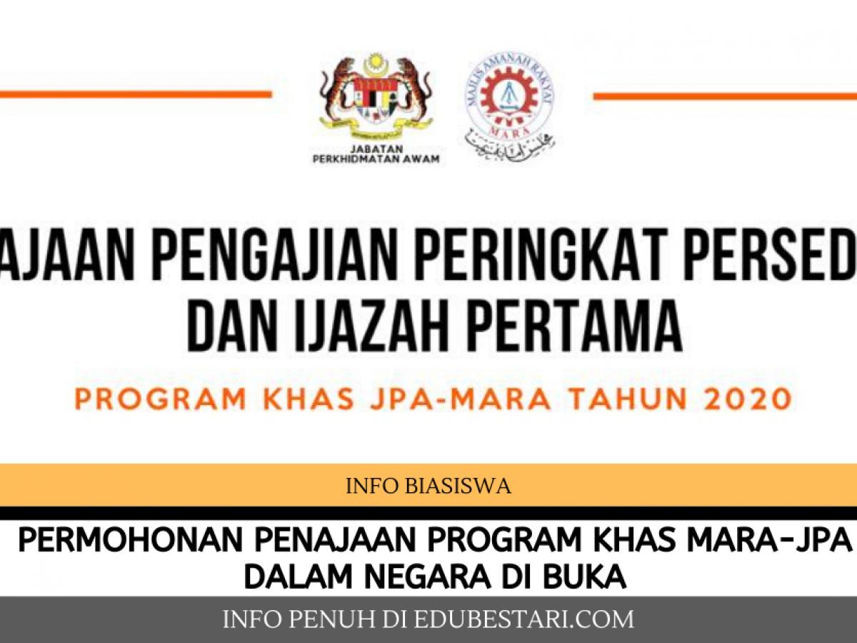 Permohonan Penajaan Program Khas Mara Jpa Dalam Negara Di Buka