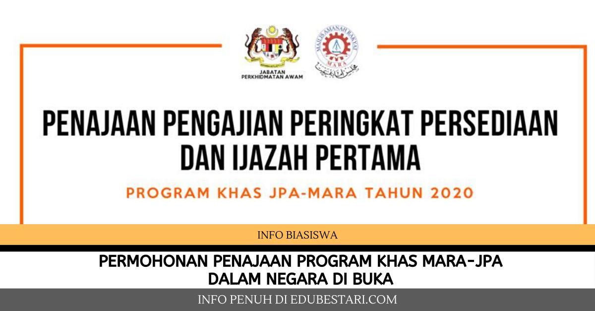 Permohonan Penajaan Program Khas Mara Jpa Dalam Negara Di Buka Edu Bestari