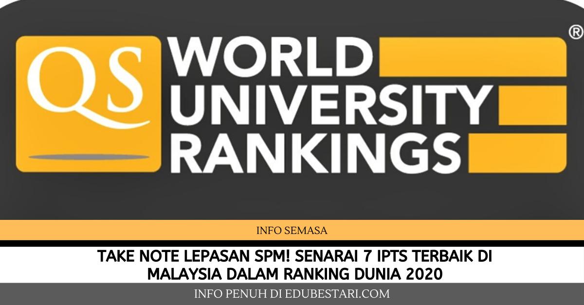 Take Note Lepasan Spm Ini Senarai 7 Ipts Terbaik Di Malaysia Dalam Ranking Dunia 2020 Yang Anda Boleh Mohon Sambung Belajar Edu Bestari
