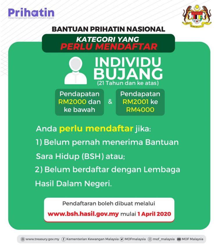 2 Kategori Individu Bujang Yang Perlu Daftar Permohonan Bantuan Prihatin Nasional Untuk Terima RM800 atau RM500