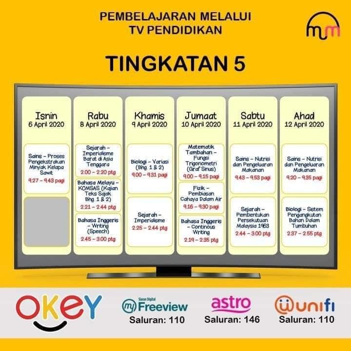 Jadual Lengkap Tv Pendidikan Download Jadual Belajar Darjah 5 Hingga Tingkatan 5 Edu Bestari