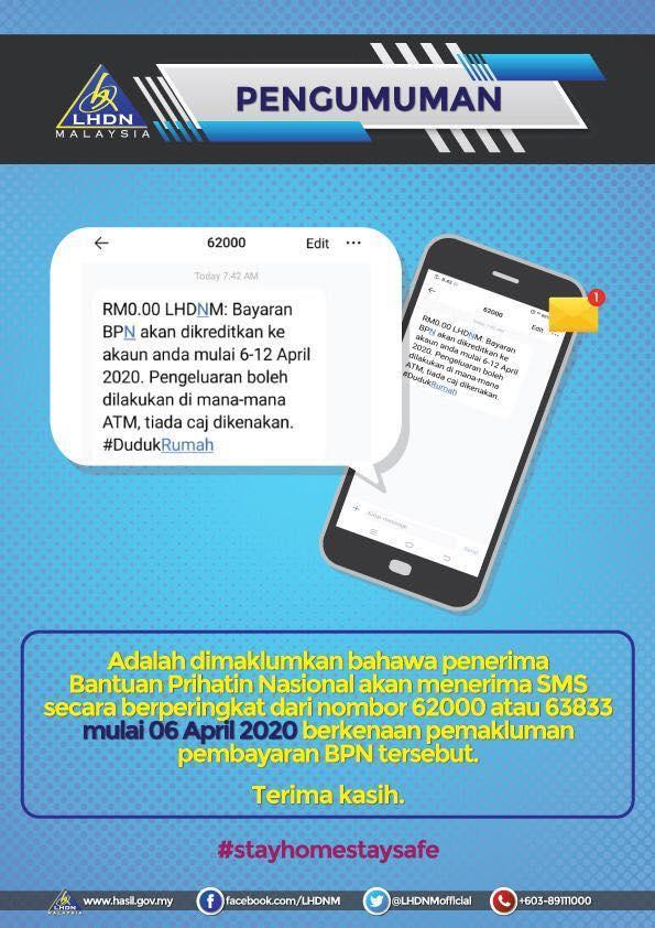 Penerima BPN Hasil Akan Terima SMS Beperingkat Dari 62000 dan 63833 Mengenai Pembayaran BPN Bermula 6 April