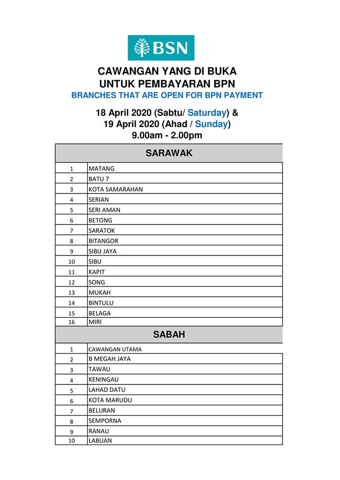 Senarai Waktu Operasi Pembayaran BPN di BSN Terpilih Hujung Minggu Dilanjutkan