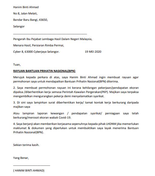 Contoh Surat Rayuan Bpn Untuk Anda Hantar Kepada Lhdn Edu Bestari