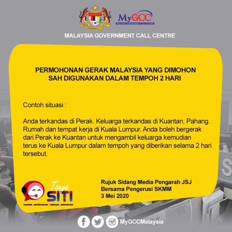 Permohonan Gerak Malaysia Sah Digunakan Dalam Tempoh 2 Hari Dari Tarikh Kelulusan Anda Terima