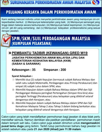 Iklan Jawatan Pembantu Tadbir W19 Jpa 235 Kekosongan Mohon Sekarang Edu Bestari