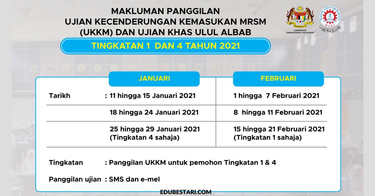 Semakan Tarikh Baharu Ujian Kecenderungan Kemasukan Mrsm Ukkm Ujian Khas Ulul Albab 2021 Edu Bestari